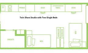 Twin Share Studio with 2 Single Beds