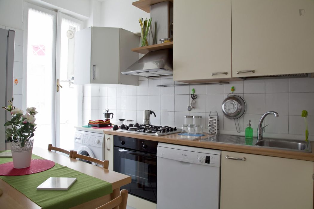 Spacious double bedroom with a balcony, near Università LUISS