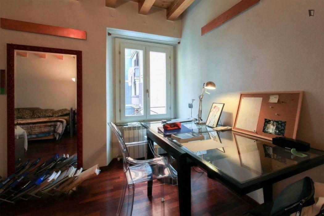 Bed in a twin bedroom in Navigli neighbourhood