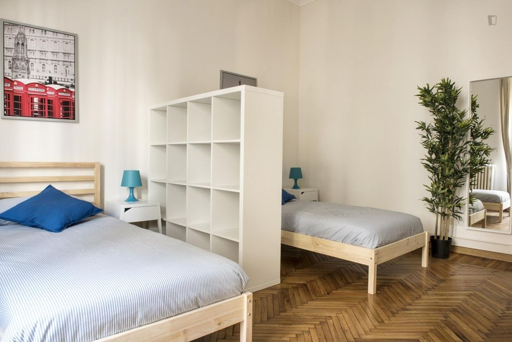 Bed in a twin bedroom near Repubblica metro station