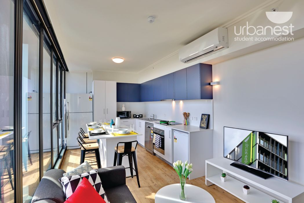 urbanest Darlington twin share room in 6 person apartment kitchen lounge