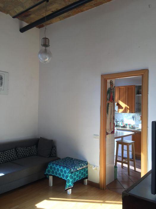 Twin bedroom in a 2-bedroom apartment in San Lorenzo Neighborhood.