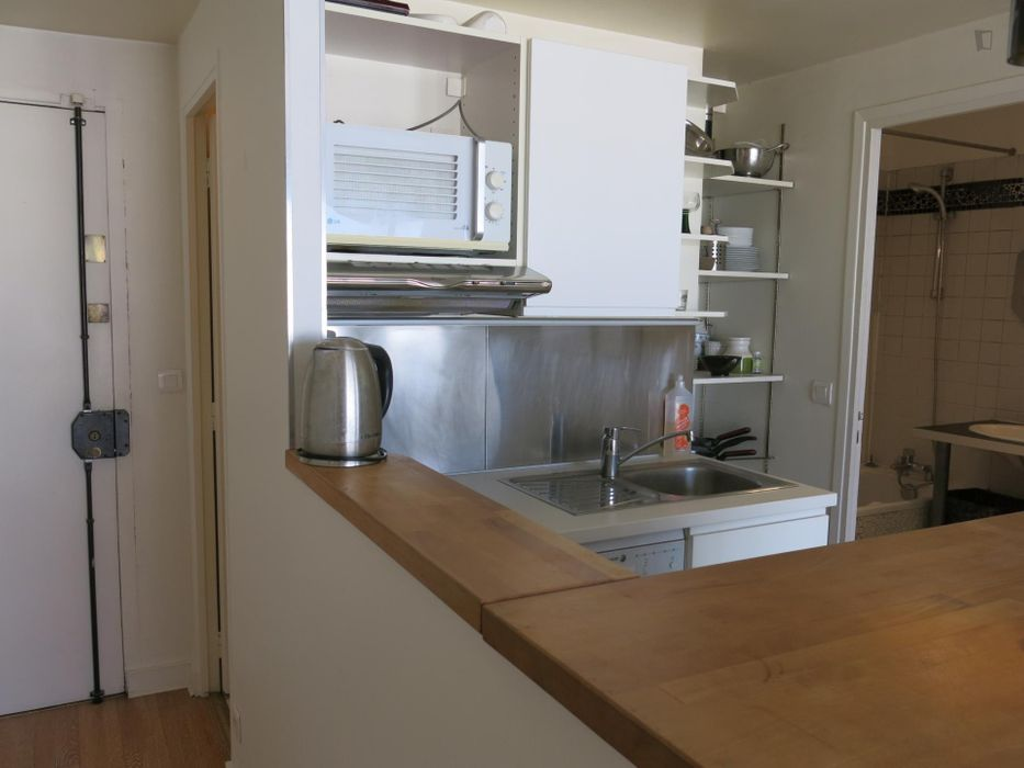 Spacious studio apartment with balcony opposite the Canal St Martin