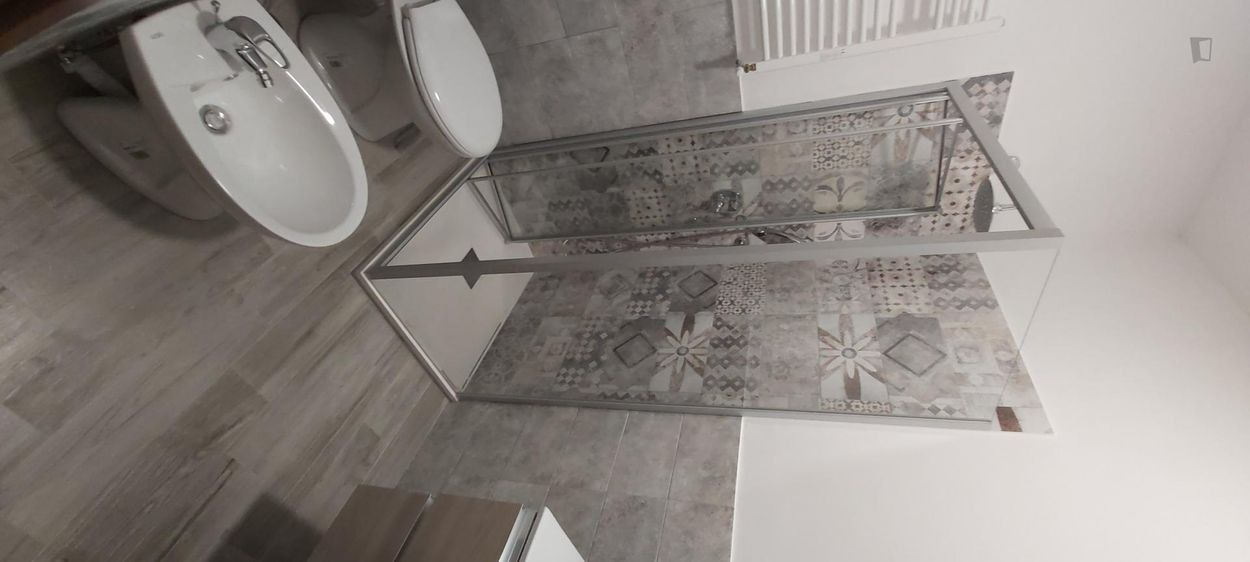 Double ensuite bedroom in a 4-bedroom apartment near Roma S. Pietro train station