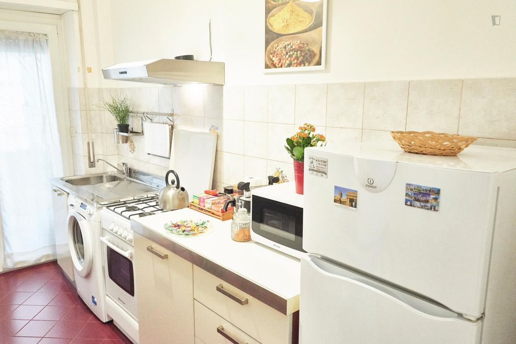 Double ensuite bedroom in a 2-bedroom apartment near Cipro metro station