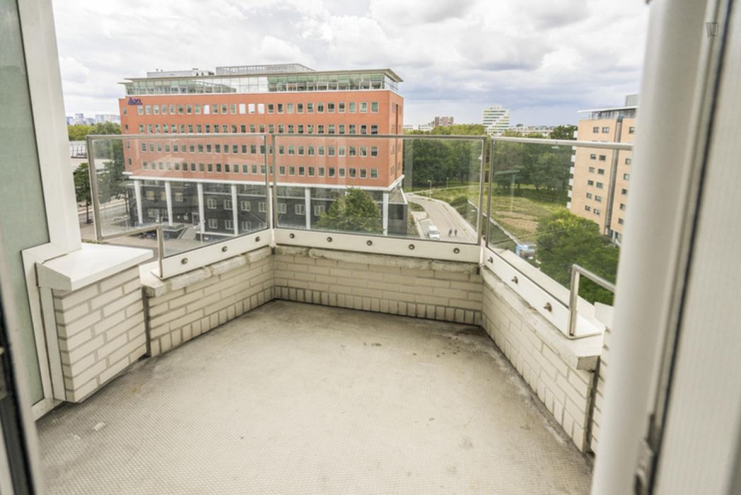 Bright double bedroom in a 4-bedroom apartment near Amsterdam Lelylaan transport station