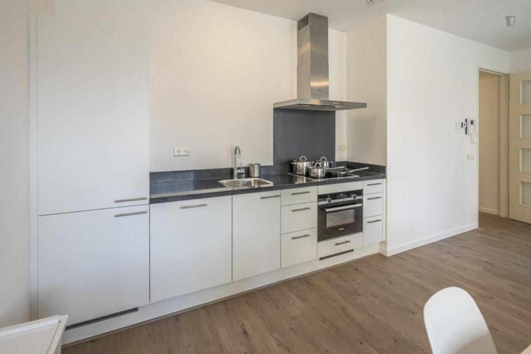 Bright double bedroom in a 3-bedroom apartment near Diemen-Zuid metro station